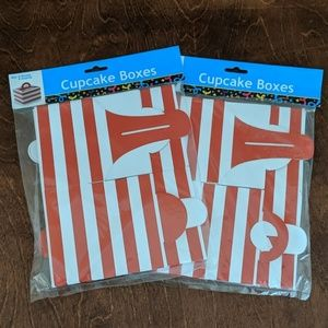 Red and White Striped Cupcake Boxes